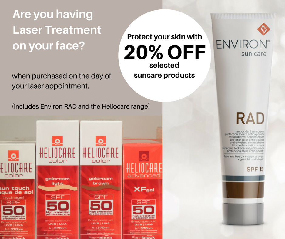 Save money on sun care products with facial laser treatment